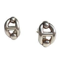 HERMES Clip-on Earrings in Sterling Silver
