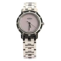 Hermès Clipper Nacre Quartz Watch Stainless Steel with Diamond Bezel