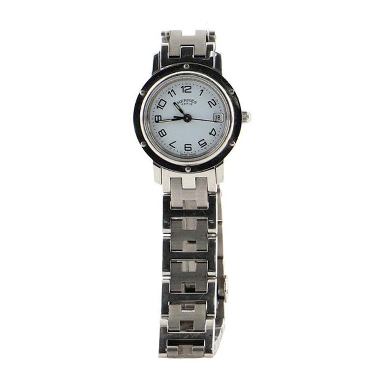Hermes Clipper Quartz Watch Stainless Steel 24