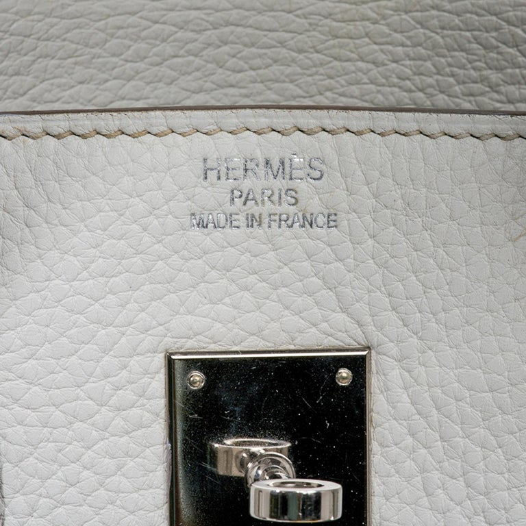 Gray Hermes Club Birkin 35 Bag Gris Perle / Blanc/ Mykonos Lizard Clemence Palladium For Sale