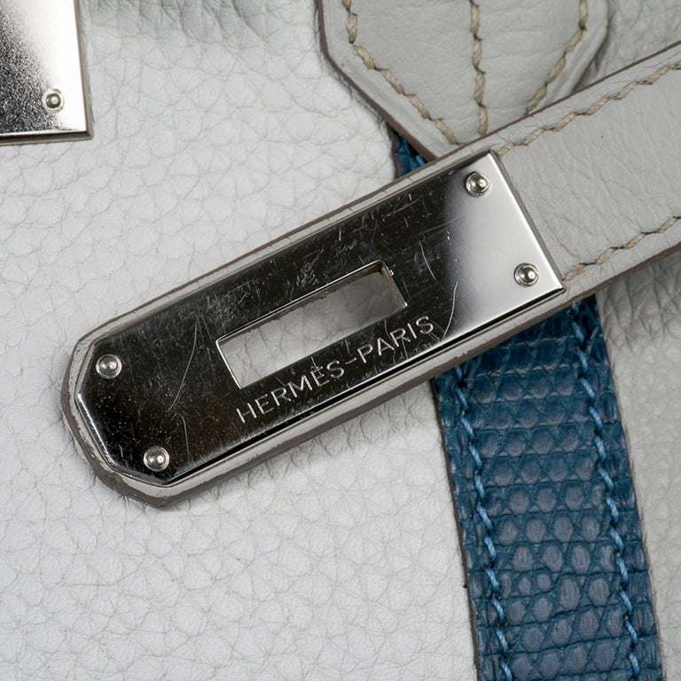 Hermes Club Birkin 35 Bag Gris Perle / Blanc/ Mykonos Lizard Clemence Palladium In Good Condition For Sale In Miami, FL