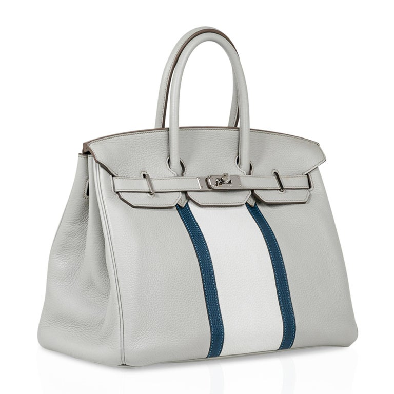 Women's Hermes Club Birkin 35 Bag Gris Perle / Blanc/ Mykonos Lizard Clemence Palladium For Sale