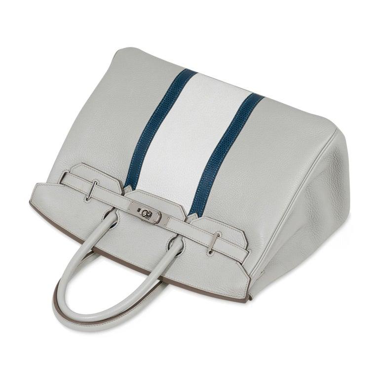 Hermes Club Birkin 35 Bag Gris Perle / Blanc/ Mykonos Lizard Clemence Palladium For Sale 1