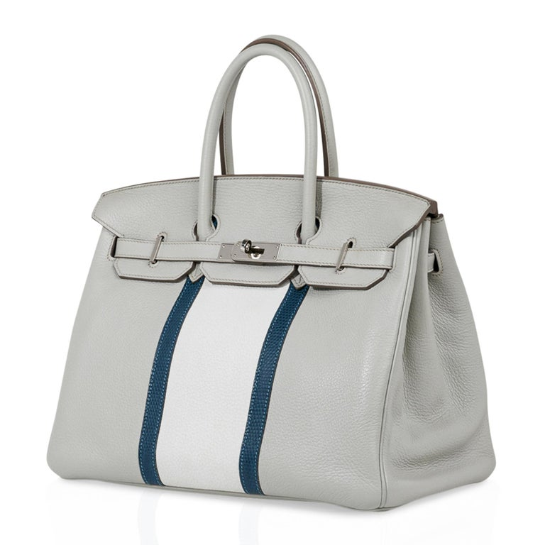 Hermes Club Birkin 35 Bag Gris Perle / Blanc/ Mykonos Lizard Clemence Palladium For Sale 2