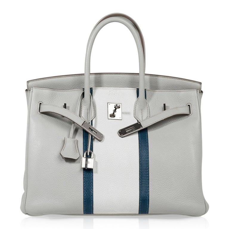 Hermes Club Birkin 35 Bag Gris Perle / Blanc/ Mykonos Lizard Clemence Palladium For Sale 3