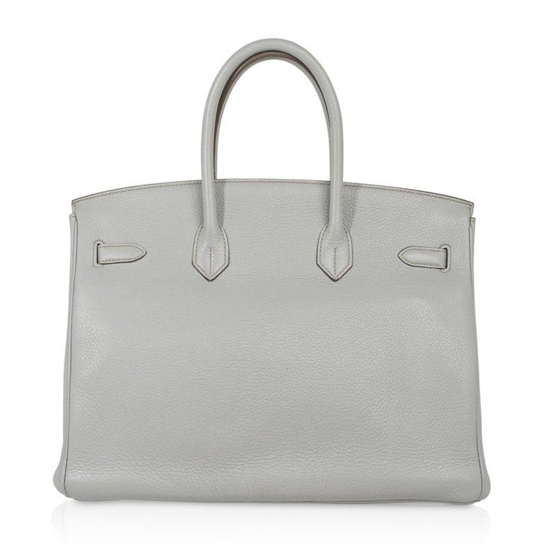 Hermes Club Birkin 35 Bag Gris Perle / Blanc/ Mykonos Lizard Clemence Palladium For Sale 4