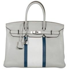 Hermes Club Birkin 35 Bag Gris Perle / Blanc/ Mykonos Lizard Clemence Palladium