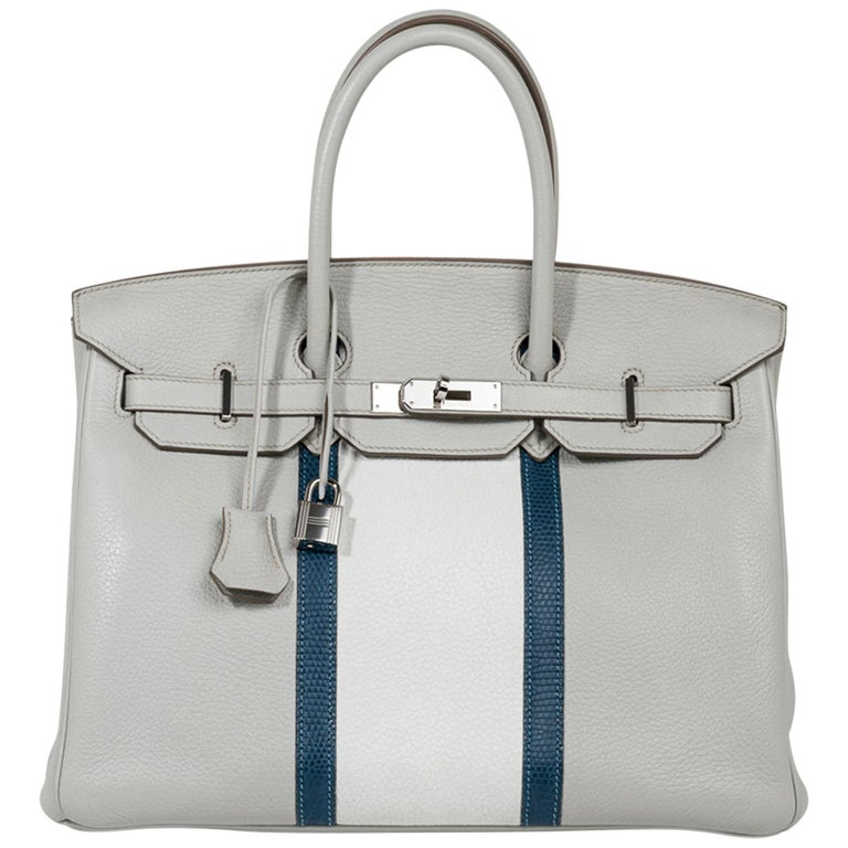 Hermes Club Birkin 35 Bag Gris Perle / Blanc/ Mykonos Lizard Clemence Palladium For Sale