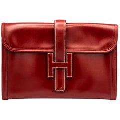 Hermes Clutch Burgundy Leather