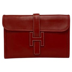 Hermes Clutch Jige 29cm Clutch Bag in Red Leather with White Stitching