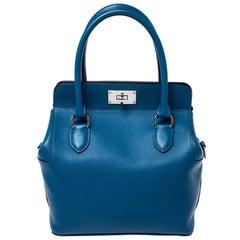 Hermes Cobalt Swift Leather Palladium Hardware Toolbox 20 Bag