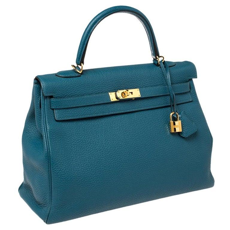 Blue Hermes Cobalt Togo Leather Gold Hardware Kelly Retourne 35 Bag For Sale