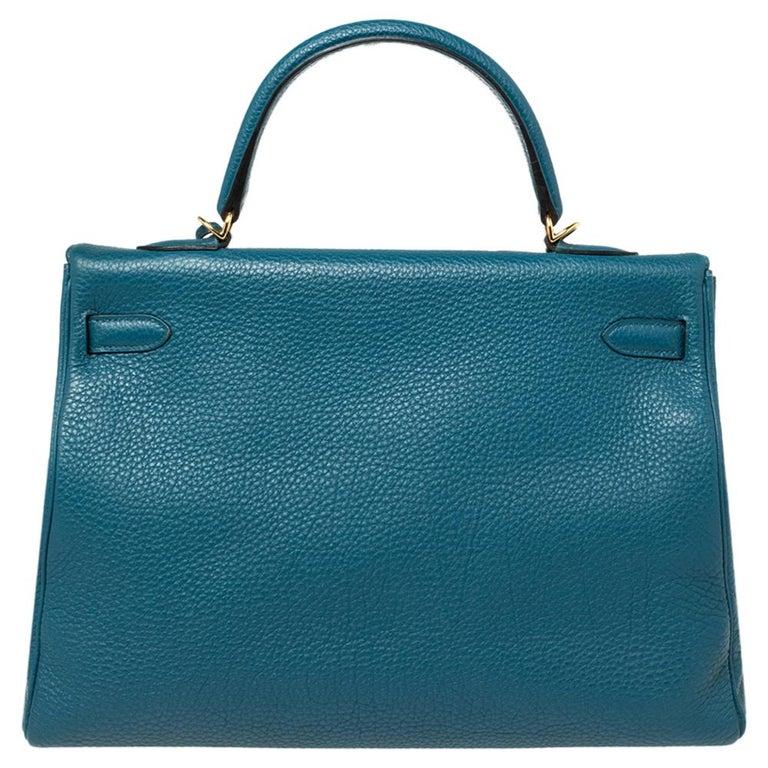 Hermes Cobalt Togo Leather Gold Hardware Kelly Retourne 35 Bag In Good Condition For Sale In Dubai, Al Qouz 2