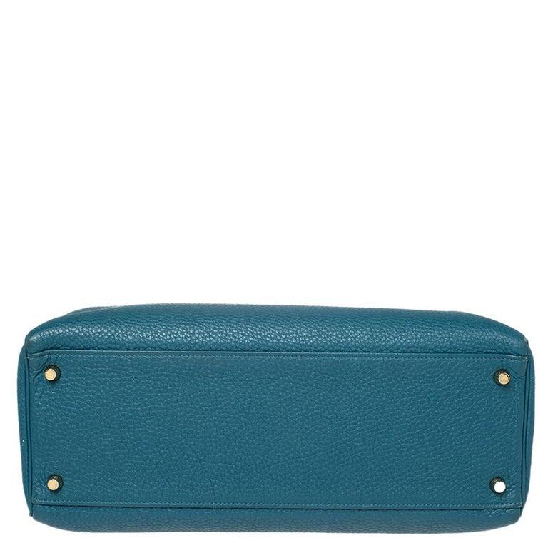 Women's Hermes Cobalt Togo Leather Gold Hardware Kelly Retourne 35 Bag For Sale
