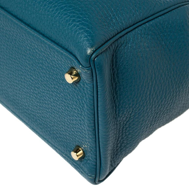 Hermes Cobalt Togo Leather Gold Hardware Kelly Retourne 35 Bag For Sale 2