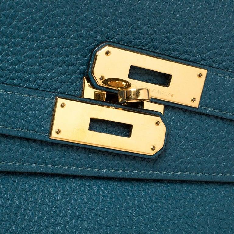 Hermes Cobalt Togo Leather Gold Hardware Kelly Retourne 35 Bag For Sale 3