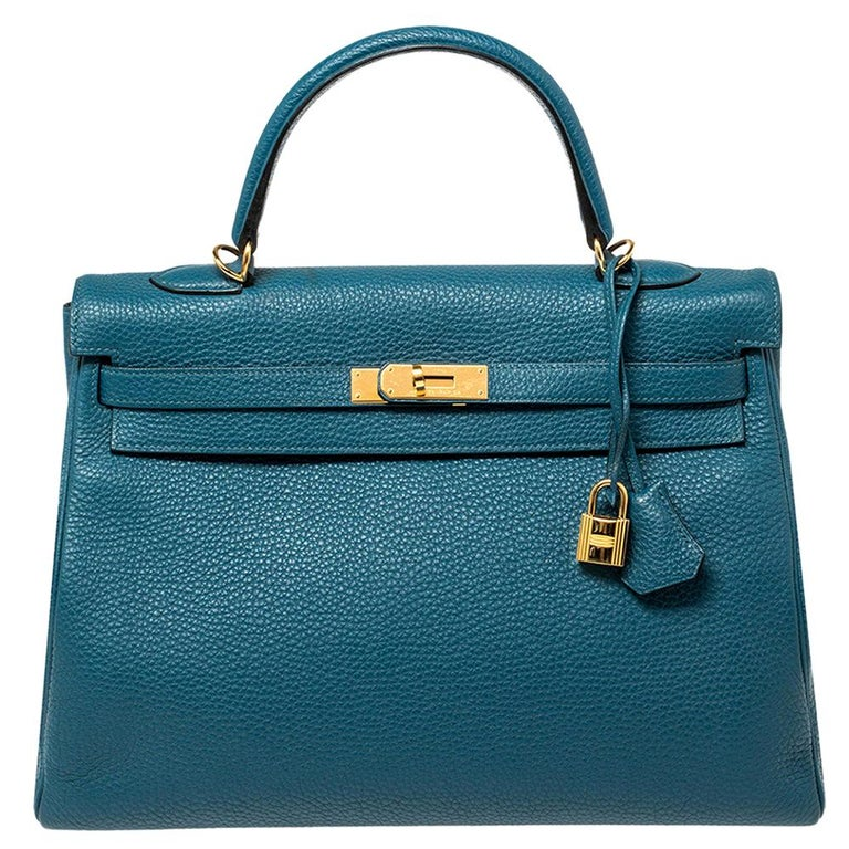 Hermes Cobalt Togo Leather Gold Hardware Kelly Retourne 35 Bag For Sale