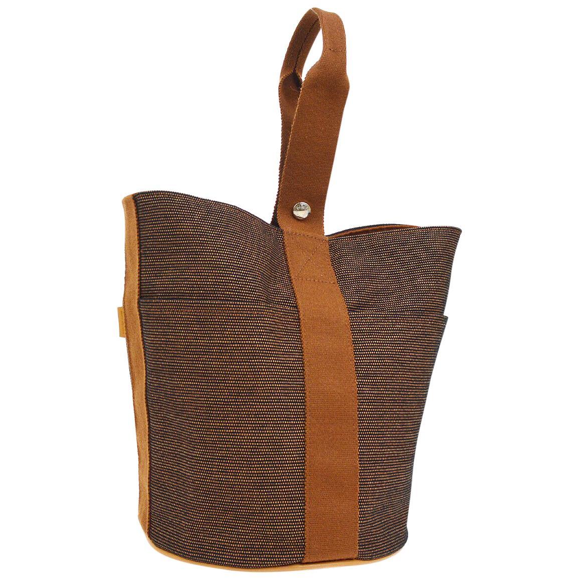 Hermes Cognac Brown Canvas Small Mini Top Handle Satchel Evening Bag