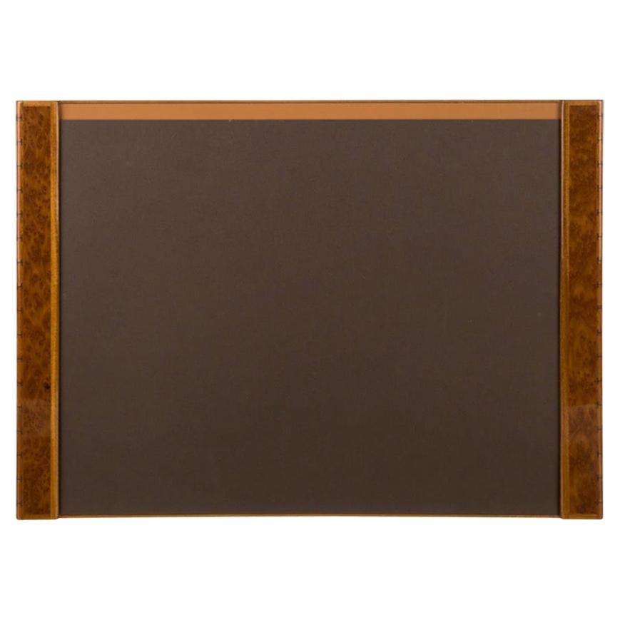 Hermes Cognac Brown Men's Women's Wood Desk Blotter Pad