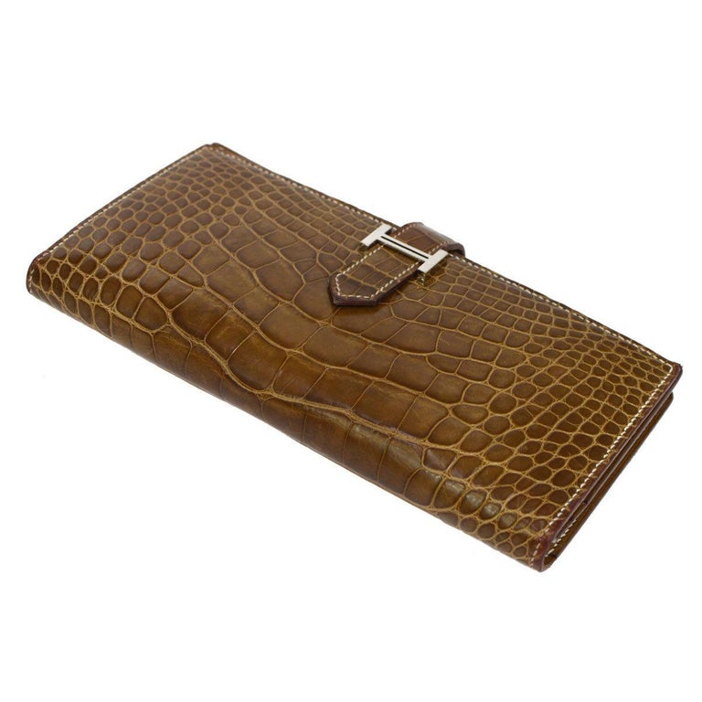 Brown Hermes Cognac Chocolate Crocodile Palladium Evening Clutch Wallet Bag in Box For Sale