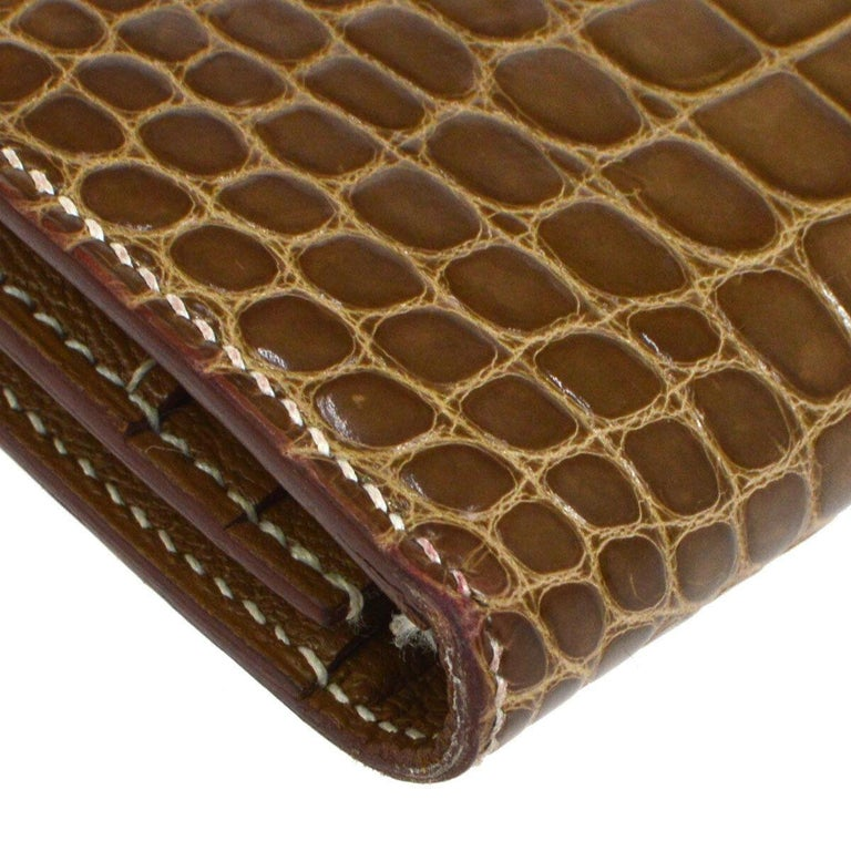 Women's Hermes Cognac Chocolate Crocodile Palladium Evening Clutch Wallet Bag in Box For Sale
