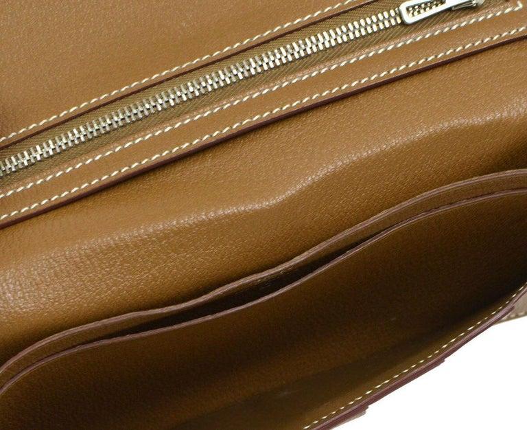 Hermes Cognac Chocolate Crocodile Palladium Evening Clutch Wallet Bag in Box 2