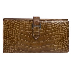 Hermes Cognac Chocolate Crocodile Palladium Evening Clutch Wallet Bag in Box