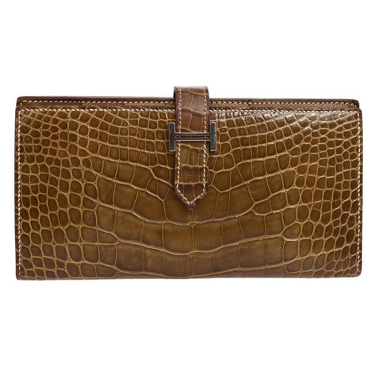 Hermes Cognac Chocolate Crocodile Palladium Evening Clutch Wallet Bag in Box