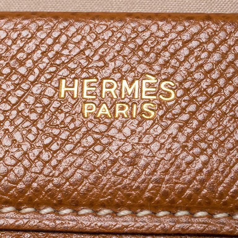 Hermes Cognac Courchevel Leather Toiletry Case For Sale 6