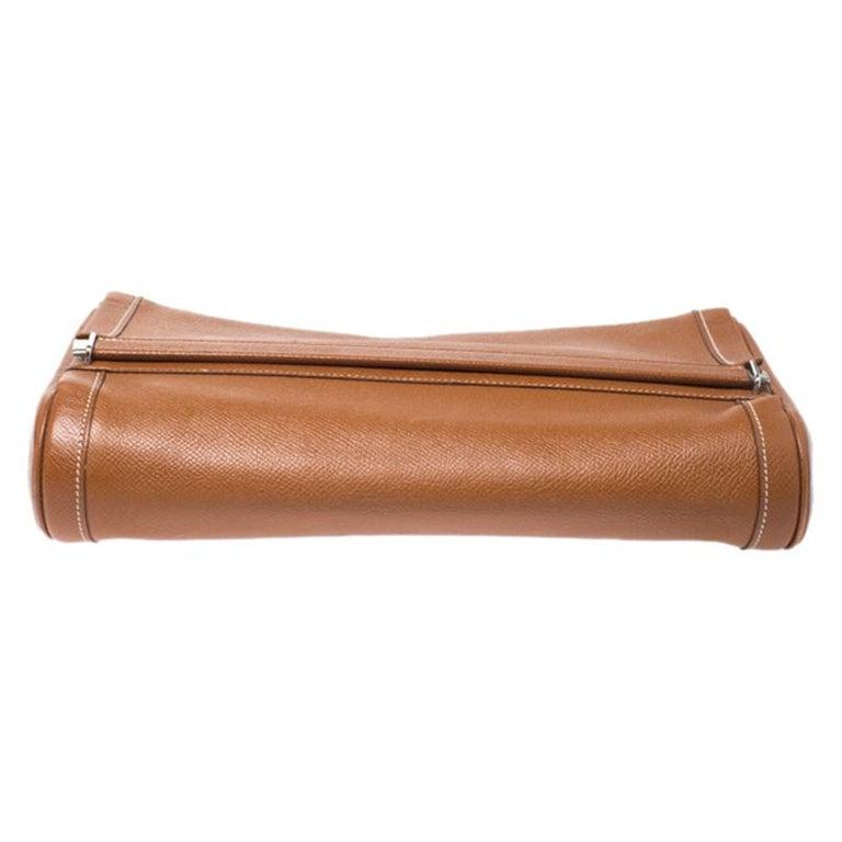 Women's Hermes Cognac Courchevel Leather Toiletry Case For Sale