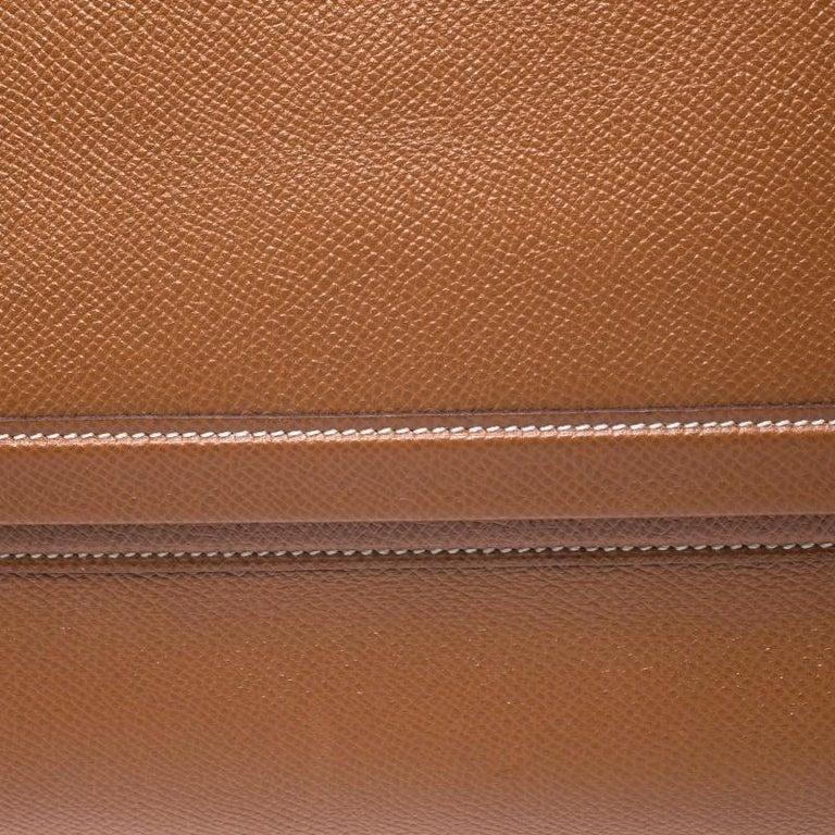 Hermes Cognac Courchevel Leather Toiletry Case For Sale 1
