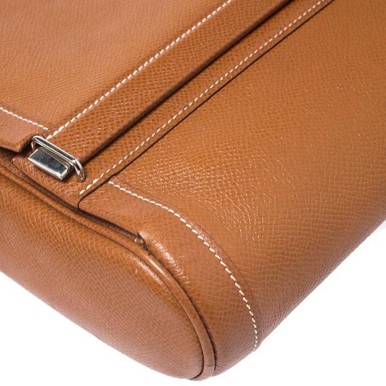 Hermes Cognac Courchevel Leather Toiletry Case For Sale 2
