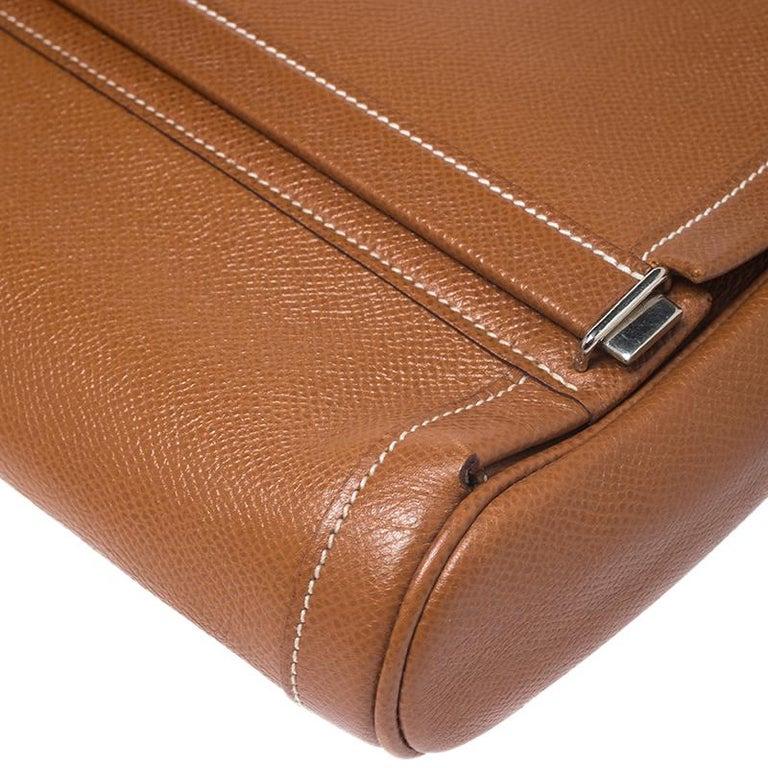 Hermes Cognac Courchevel Leather Toiletry Case For Sale 3