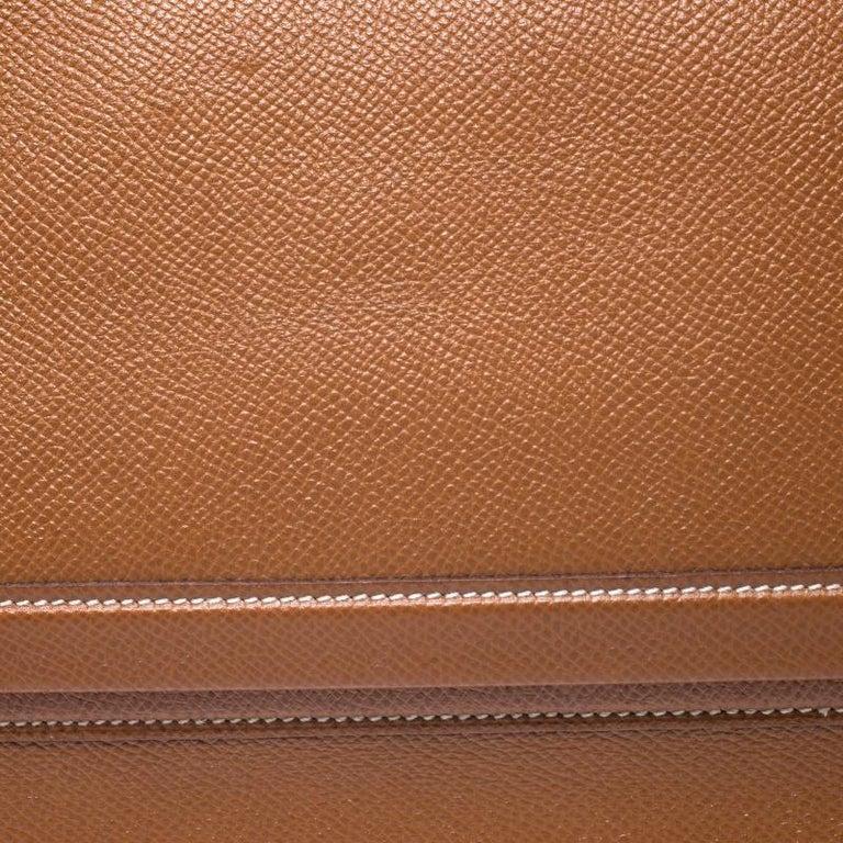 Hermes Cognac Courchevel Leather Toiletry Case For Sale 4