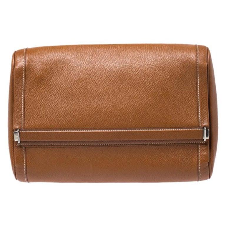 Hermes Cognac Courchevel Leather Toiletry Case For Sale