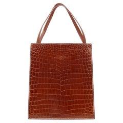 Hermes Cognac Crocodile Exotic Leather Top Handle Satchel Small Tote Bag
