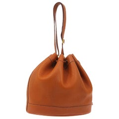 Hermes Cognac Leather Bucket Gold Drawstring Carryall Shoulder Bag
