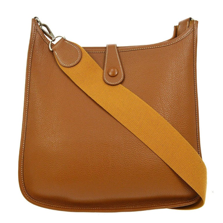 Hermes Cognac Leather Leather Canvas