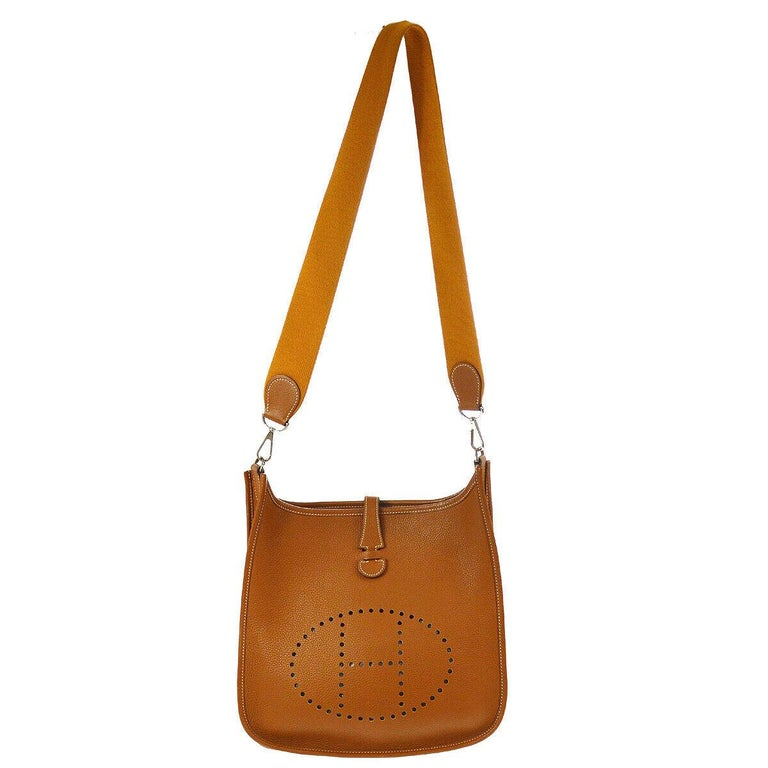 Brown Hermes Cognac Leather Canvas
