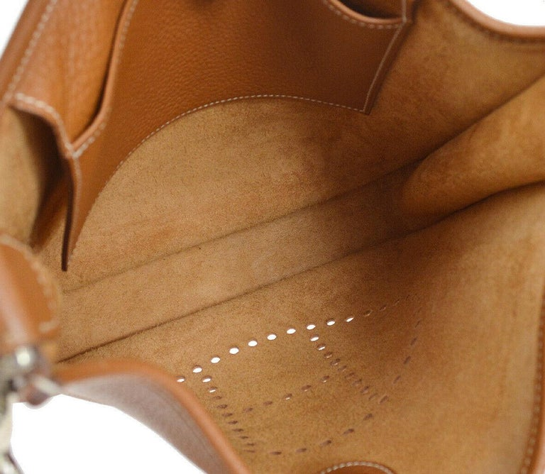Hermes Cognac Leather Canvas