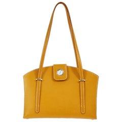 Hermes Cognac Leather Clock Top Handle Satchel Shoulder Tote Carryall Bag