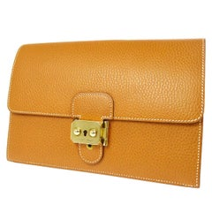Hermes Cognac Leather Gold Envelope Evening Flap Wristlet Clutch Bag