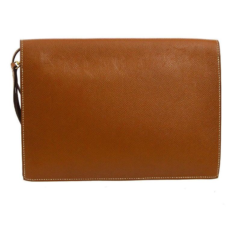 Brown Hermes Cognac Leather Gold Flip Lock Wristlet Evening Flap Clutch Bag with Keys For Sale