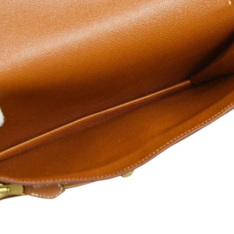 Women's Hermes Cognac Leather Gold Flip Lock Wristlet Evening Flap Clutch Bag with Keys For Sale