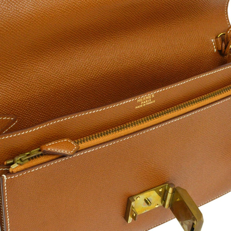 Hermes Cognac Leather Gold Flip Lock Wristlet Evening Flap Clutch Bag with Keys For Sale 1