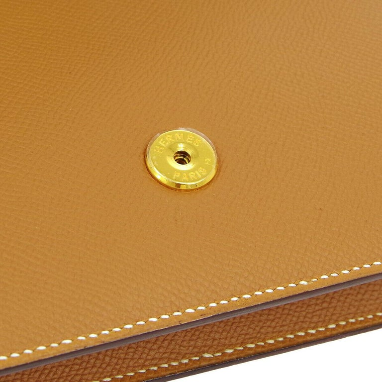 Brown Hermes Cognac Leather Gold 'H