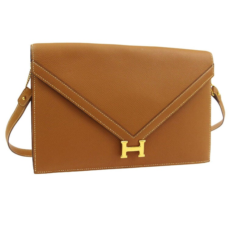 "Hermes Cognac Leather Gold 'H"" Logo Evening 2 in 1 Shoulder Flap Clutch Bag"