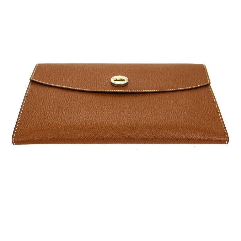 Hermes Cognac Leather Gold Hardware Envelope Men's Evening Clutch Bag in Box In Good Condition For Sale In Chicago, IL