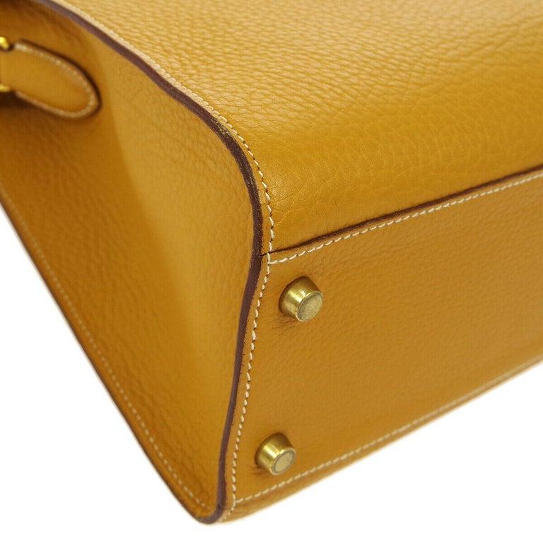 Women's Hermes Cognac Leather Gold Kelly Crossbody Shoulder Bag For Sale