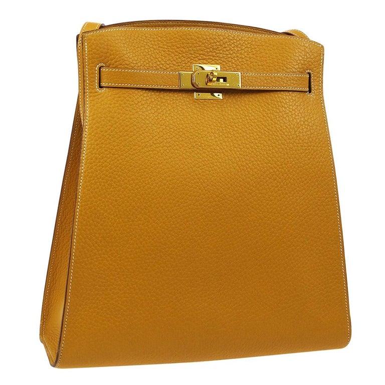 Hermes Cognac Leather Gold Kelly Crossbody Shoulder Bag For Sale